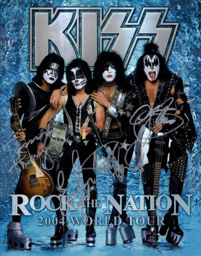 Kiss X4 Autographed Signed Rock The Nation 2004 Tour Book AFTAL UACC RD COA