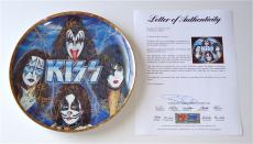 Kiss X4 Gene Simmons Paul Stanley Ace Frehley & Peter Criss Signed Plate Psa Loa