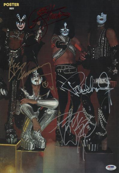 Kiss X4 Gene Simmons Paul Stanley Ace Frehley Peter Criss Signed Poster Psa Loa