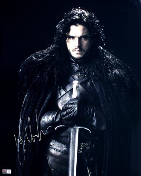Kit Harington Autographed 'Game of Thrones' Jon Snow with Sword 16x20 Photo