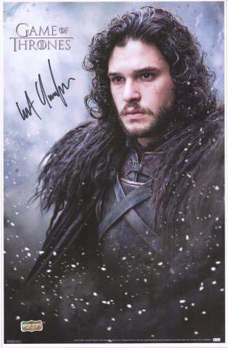 "Kit Harington Game of Thrones Autographed 12"" x 18"" Jon Snow Poster"