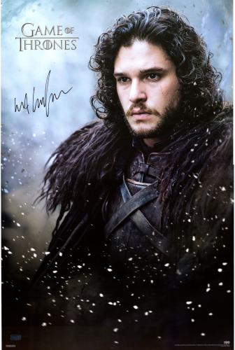 "Kit Harington Game of Thrones Autographed 24"" x 36"" Jon Snow Poster"