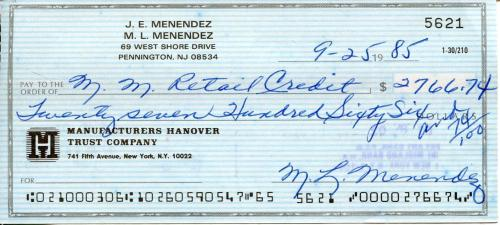 Kitty Menendez Murdered By Sons Lyle & Eric Signed Check Autograph