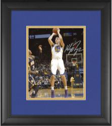 "Klay Thompson Golden State Warriors Framed Autographed 8"" x 10"" White Uniform Shooting Photograph"