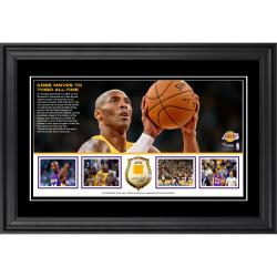 "Kobe Bryant Los Angeles Lakers Framed Third All-Time Scoring 10"" x 18"" Horizontal Photo Collage with Game-Used Jersey- Limited Edition of 50"