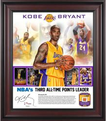 "Kobe Bryant Los Angeles Lakers Third All-Time Scoring 20"" x 24"" Collage with Piece of Team-Used Ball - Limited Edition of 100"