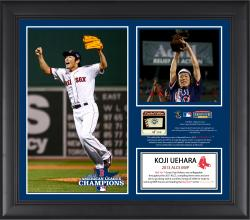 Koji Uehara Boston Red Sox 2013 American League Champions MVP Framed 2-Photo Collage with Game-Used Baseball - Limited Edition of 500 - Mounted Memories