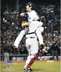 Koji Uehara & David Ross Boston Red Sox 2013 World Series Champions Autographed 16'' x 20'' Celebration Photograph with Last Out Inscription - Mounted Memories