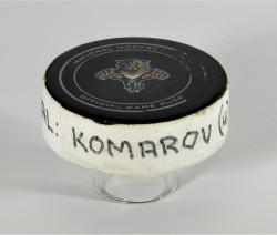 Leo Komarov Toronto Maple Leafs 4/25/13 Game-Used Goal Puck at Florida Panthers - Mounted Memories