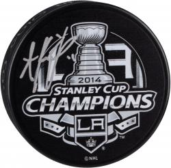 Anze Kopitar Los Angeles Kings 2014 Stanley Cup Champions Autographed 2014 Stanley Cup Champs Logo Puck
