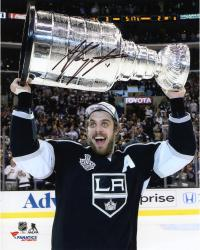 Anze Kopitar Los Angeles Kings 2014 Stanley Cup Champions Autographed 8'' x 10'' Raising Stanley Cup Photograph - Mounted Memories