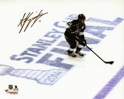 Anze Kopitar Los Angeles Kings 2014 Stanley Cup Champions Autographed 8'' x 10'' Stanley Cup Final Over Logo Photograph - Mounted Memories
