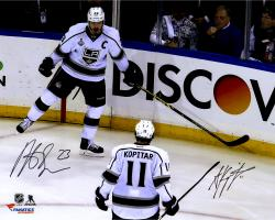 Anze Kopitar & Dustin Brown Los Angeles Kings 2014 Stanley Cup Champions Autographed 16'' x 20'' Stanley Cup Team Celebration Photograph - Mounted Memories