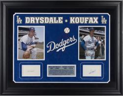 Koufax / Drysdale Framed Auto Cut Signatures (deluxe/suede/logo)