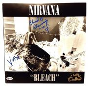 "KRIST NOVOSELIC, CHAD CHANNING, ENDINO Signed NIRVANA ""Bleach"" Album Beckett BAS"