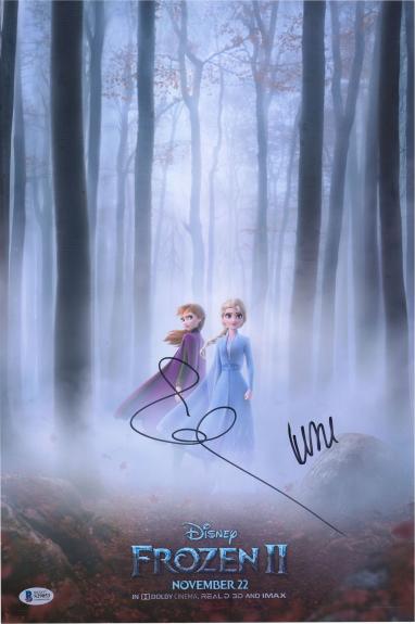 """Kristen Bell & Idina Menzel Frozen Autographed 12"""" x 18"""" Poster - BAS"""