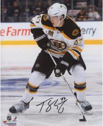 """Torey Krug Boston Bruins Autographed 8"""" x 10"""" White Uniform Passing Photograph"""