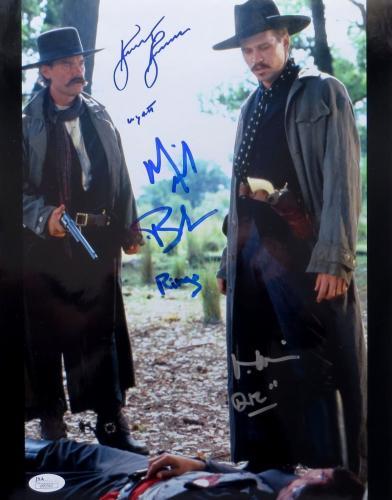 Kurt Russell Val Kilmer Michael Biehn Signed 11X14 Photo Tombstone JSA U90362