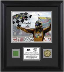 "Kyle Busch 2013 Cheez-It at the Glen Framed 8"" x 10"" Photograph with Gold Coin & Race-Used Flag - Mounted Memories"