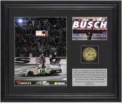 Kyle Busch 2013 NRA 500 Race Winner Framed 2-Photo Collage with Gold-Plated Coin-Limited Edition of 318 - Mounted Memories