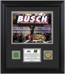 Kyle Busch 2013 NRA 500 Winner Framed 8'' x 10'' Photograph with Gold Coin & Race-Used Flag-Limited Edition of 118 - Mounted Memories