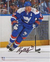 """Kyle Okposo New York Islanders Autographed Skating With Puck 8"""" x 10"""" Photograph"""