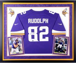 Kyle Rudolph Minnesota Vikings Autographed Deluxe Framed Purple Nike Replica Jersey