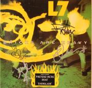 "L7 Donita Sparks +3 Signed Autographed ""Bricks Are Heavy"" Album Cover JSA Q48724"