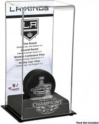Los Angeles Kings 2014 Stanley Cup Champions Logo Standard Puck Display Case - Mounted Memories