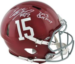 Eddie Lacy Alabama Crimson Tide Autographed Pro Line Riddell Authentic Helmet with 2013 BCS MVP Inscription - Mounted Memories