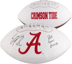 Eddie Lacy Alabama Crimson Tide Autographed White Panel Football with 3X BCS Champs Inscription - Mounted Memories