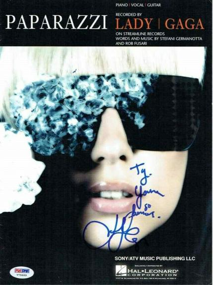 Lady Gaga Paparazzi Autographed Signed Sheet Music Certified Authentic PSA/DNA