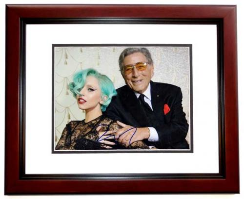 Lady Gaga Signed - Autographed Concert 8x10 inch Photo pictured with Tony Bennett - MAHOGANY CUSTOM FRAME - Guaranteed to pass PSA or JSA - Stefani Germanotta