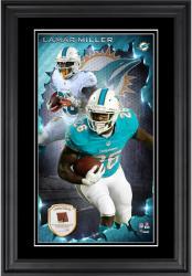 Lamar Miller Miami Dolphins 10'' x 18'' Vertical Framed Photograph with Piece of Game-Used Football - Limited Edition of 250