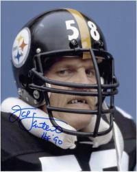 Jack Lambert Signed Steelers No Teeth 8x10 Photo w/'HOF'90'