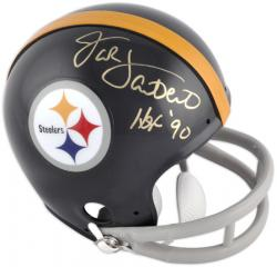 "Jack Lambert Pittsburgh Steelers Autographed Riddell Mini Helmet with ""HOF 90"" Inscription"