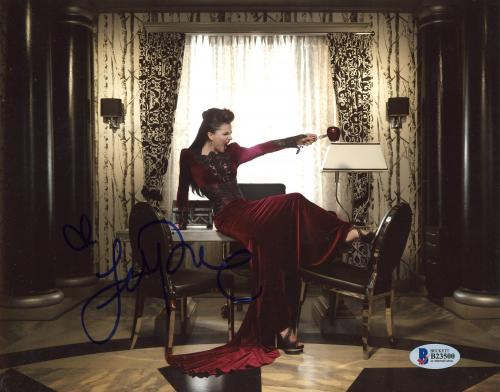 """Lana Parrilla Autographed 8"""" x 10"""" Once Upon A Time Posing On Desk Photograph - Beckett COA"""
