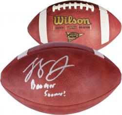 Landry Jones Oklahoma Sooners Autographed NCAA Wilson Pro Football with Boomer Sooner Inscription