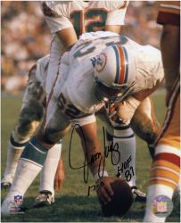 Jim Langer Miami Dolphins Autographed 8'' x 10'' Action Photograph with HOF '87 and 17-0 Inscription - Mounted Memories