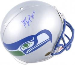 Steve Largent Seattle Seahawks Autographed Riddell Pro-Line Authentic Helmet with HOF 95 Inscription - Mounted Memories