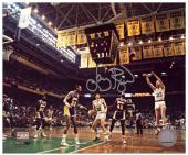 Larry Bird Boston Celtics Autographed 8'' x 10'' Jumper Photograph - Mounted Memories