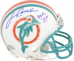 Larry Csonka Miami Dolphins Autographed Throwback Riddell Teal Mask Mini Helmet with HOF 87 Inscription - Mounted Memories
