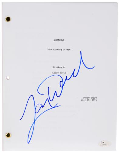 Larry David Autographed Seinfeld The Parking Garage Replica Script - BAS COA
