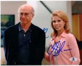 Larry David Cheryl Hines 2x signed 8x10 photo Curb Your Enthusiasm Beckett BAS