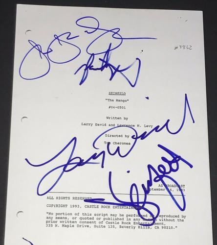 Larry David Jerry Seinfeld Jason Alexander Signed Autograph The Mango Ep Script