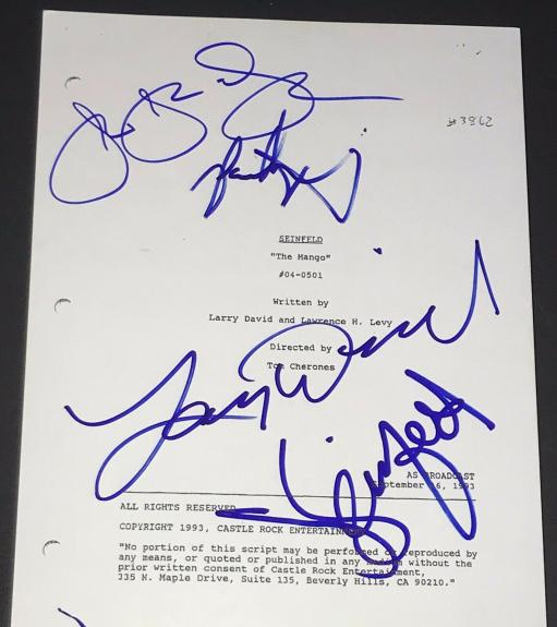 Larry David Jerry Seinfeld Jason Alexander Signed Autograph The Mango Ep Script