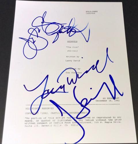 "Jerry Seinfeld Larry David & Jason Alexander Signed ""the Pick"" Show Script"