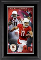 Larry Fitzgerald Arizona Cardinals 10'' x 18'' Vertical Framed Photograph with Piece of Game-Used Football - Limited Edition of 250