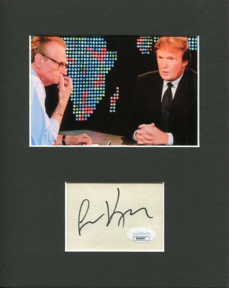 Larry King TV News Host Signed Autograph Photo Display With Donald Trump JSA