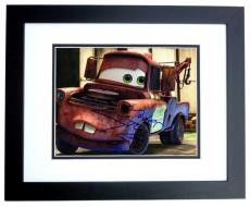 Larry the Cable Guy Autographed Disney CARS 8x10 Photo BLACK CUSTOM FRAME with MATER Inscription